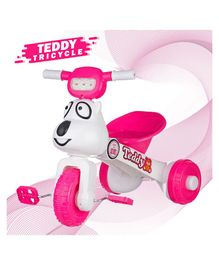 Dash Teddy Face Foldable Tricycle With Music & Light - Pink