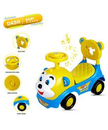 Dash Monkey Face Manual Push Ride On With Horn And Music - Blue