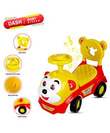 Dash Monkey Face Manual Push Ride On With Horn And Music - Red