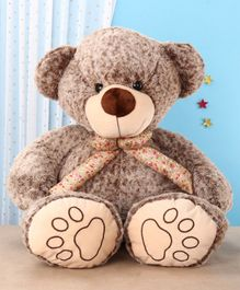 Dimpy Stuff Teddy Bear With Printed Muffler Brown - Height 90 cm