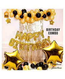 Balloon Junction Birthday Foil Decoration Set with Curtain Black & Gold  - Pack Of 46
