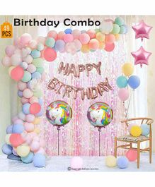 Balloon Junction Unicorn Theme Birthday Decoration Set With Foil Curtain - Pack Of 68