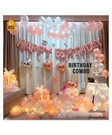 Balloon Junction Birthday Foil Decoration Set Rose Gold Foil & White - Pack Of 47