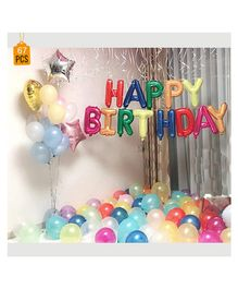 Balloon Junction Birthday Pastel Balloons Decoration Set Multicolor - Pack Of 68