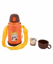 Yellow Bee Hot & Cold Cat Thermos Sipper Bottle With Replaceable Cups Orange - 600 ml