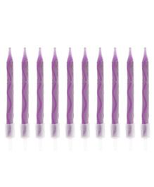 Party Anthem Spiral Candles Purple - 10 Pieces