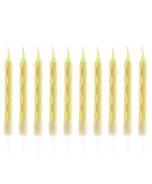 Party Anthem Spiral Candles Yellow - 10 Pieces