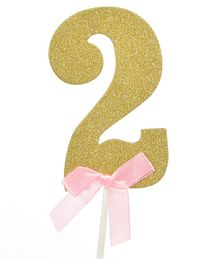 Party Anthem 2 Number Glitter Paper Cake Topper - Golden
