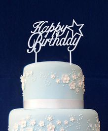 Happy Birthday Acrylic Cake Topper - Silver