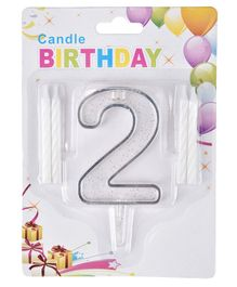 Party Anthem Number 2 Cake Topper With Candles - White