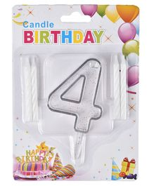 Party Anthem Number 4 Cake Topper With Candles - White