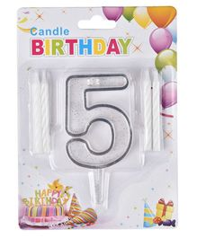 Party Anthem Number 5 Cake Topper With Candles - White