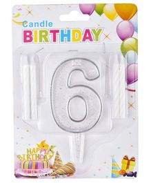 Party Anthem Number 6 Cake Topper With Candles - White