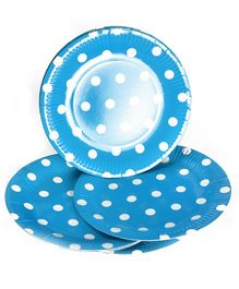 Party Anthem Polka Paper Plates Blue - Pack of 20