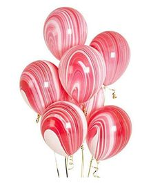 Party Anthem Marble Latex Balloons Pack Of 25 - Red & White