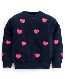 Natilene Heart Detailed Full Sleeves Sweater - Navy Blue