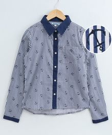 Natilene All Over Anchor Printed Full Sleeves Striped Shirt - White & Navy Blue