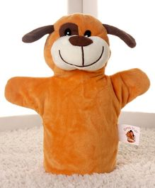 Dimpy Stuff Dog Hand Puppet Brown - Height 25 cm