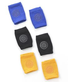 Baby Cotton Knee Pads Pack of 3 Pairs - Yellow Blue & Black