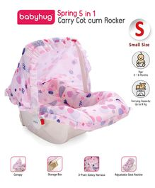 Babyhug Spring 5 in 1 Carry Cot Cum Rocker With Mosquito Net - Pink