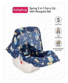 Babyhug Spring 5 in 1 Carry Cot Cum Rocker With Mosquito Net - Dark Blue