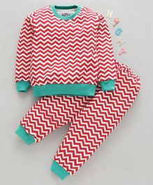 Nite Flite Chevron Striped Full Sleeves Night Suit - Red