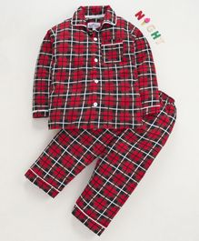 Nite Flite Checked Full Sleeves Night Suit - Red