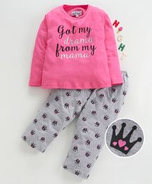 Nite Flite Got My Drama From My Mama Print Full Sleeves Night Suit - Pink