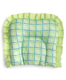 Fancy Fluff U Pillow With Checks - Green