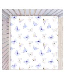Fancy Fluff Cotton Fitted Bedsheet Butterfly Print - Blue and White