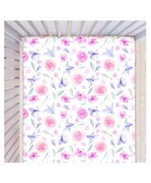 Fancy Fluff Cotton Fitted Bedsheet Floral Print - White and Pink