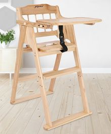 Wooden High Chair With Safety Belt - Cream
