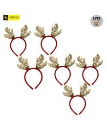 Zest 4 Toyz Golden Christmas Headband Antlers Ear Hair Hoop For Xmas - Pack of 6