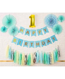 Shopperkart First Birthday Wall Decorations Combo Pack Blue - Pack of 9
