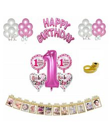 Shopperkart First Birthday Wall Decorations Combo Pack Pink - Pack of 54