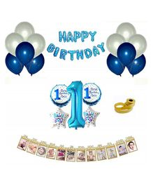 Shopperkart First Birthday Wall Decorations Combo Pack Blue - Pack of 54