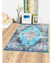 Status Polyester Yarn 3D Printed Vintage Persian Carpet With Anti Slip Backing for Kids Small - Multicolor