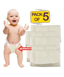 Bembika 4-Layer Cotton Nappy Inserts Pack of 5 - Cream