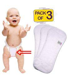 Bembika 4-Layer Cotton Nappy Inserts Pack of 3 - White