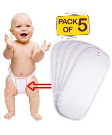 Bembika 3-Layer Cotton Nappy Inserts Pack of 5 - White