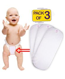 Bembika 3-Layer Cotton Nappy Inserts Pack of 3 - White