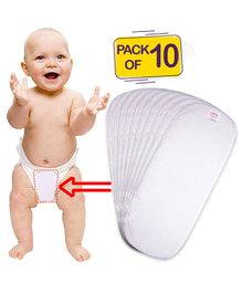 Bembika 3-Layer Cotton Nappy Inserts Pack of 10 - White