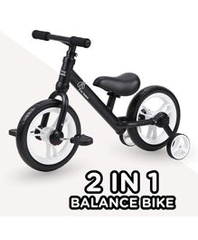 R for Rabbit Tiny Toes Trainer Plus 2 in 1 Bicycle Black - 11 Inches