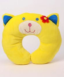 Play Toons Neck Support Pillow Kitty Design - Yellow