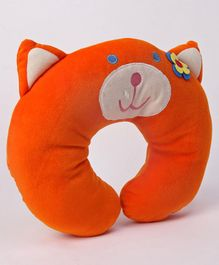 Play Toons Neck Support Pillow Kitty Design - Orange