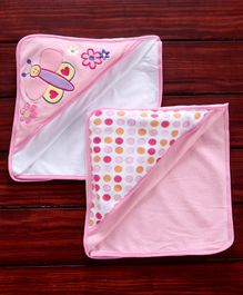 Owen Knited Hooded Towel Butterfly Embroidery Pack of 2 - Pink