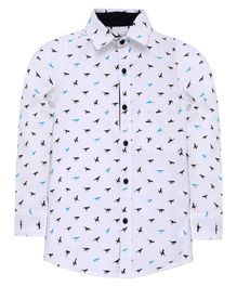Nick&Jess Dinosaur Printed Full Sleeve Shirt - White