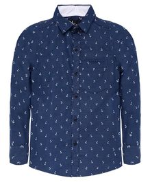 Nick&Jess Anchor Print Full Sleeves Shirt - Blue