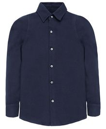Nick&Jess Solid Full Sleeves Shirt - Navy Blue