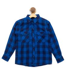 Nick&Jess Checkered Front Pocket Full Sleeves Shirt - Blue